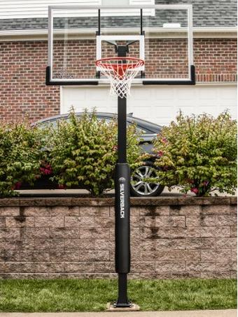 "$499.99 Silverback 60"" In-Ground Basketball System with Tempered Glass Backboard"
