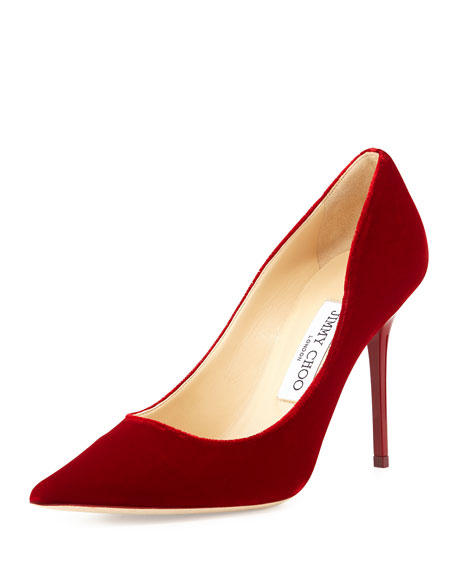 Jimmy Choo Abel Velour Pointed-Toe Pump, Red