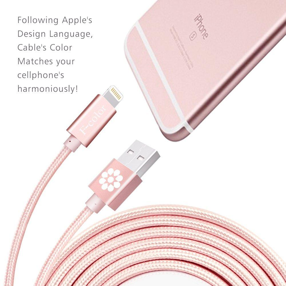 iPhone 6S Charger, Rose Gold Cable, 6.6 Feet Long F-color Braided Lightning Cable