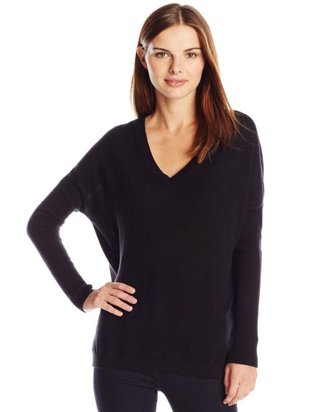 Lark & Ro Women's 100% Cashmere Slouchy V-Neck Sweater @ Amazon