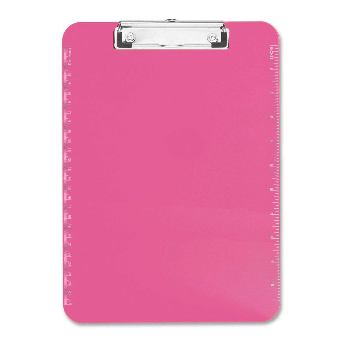 Neon Pink Transparent Plastic Clipboard