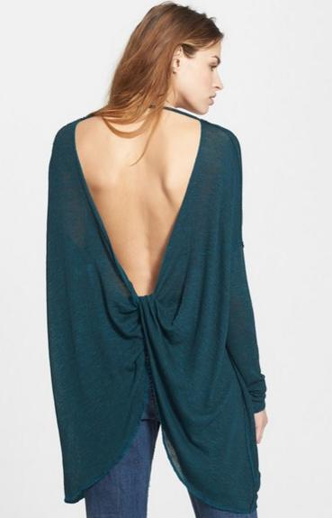 $40.8 Free People 'Shadow' Oversize Hacci Open Back Top On Sale @ Nordstrom