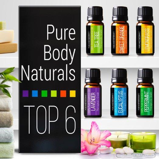 Pure Body Naturals Aromatherapy Top 6 Essential Oils 100% Pure & Therapeutic grade