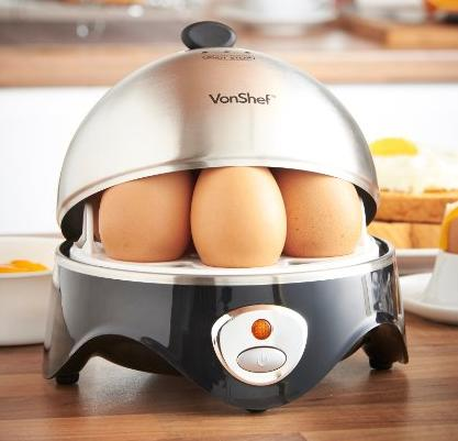 VonShef Exclusive 7-Egg Electric Egg Cooker Stainless Steel + Poacher & Steamer Attachment