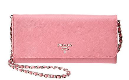 Prada Saffiano Leather Flap Wallet on Chain On Sale @ Rue la la