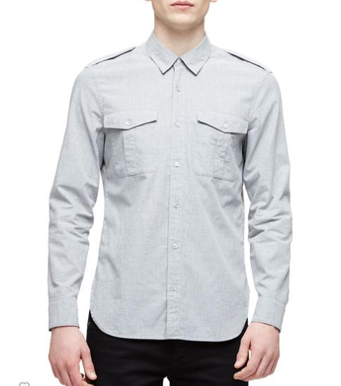 Burberry Brit Solid Long-Sleeve Military Shirt, Light Gray @ Neiman Marcus