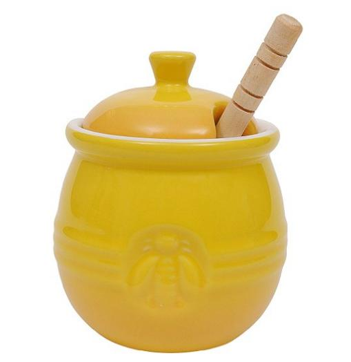 Creative Co-Op Stoneware Honey Pot with Wood Honey Dipper
