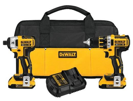$199.99 DEWALT DCK281D2 20V Max XR Lithium Ion Brushless Compact Drill/Driver & Impact Driver Combo Kit