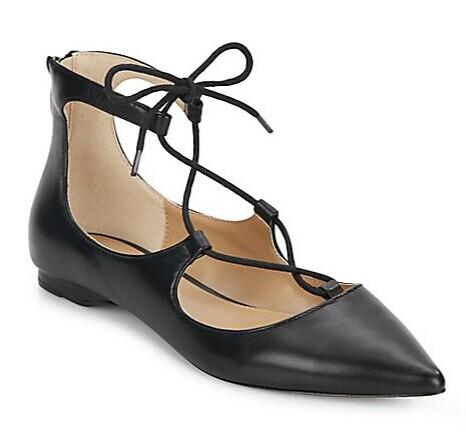 Saks Fifth Avenue Estyn Lace-Up Leather Point Toe Flats @ Saks Off 5th