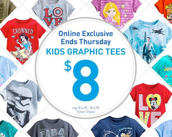 $8 Graphic Tees for Kids @disneystore