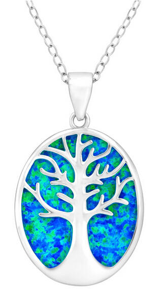 Tree of Life Blue Opal Cutout Pendant