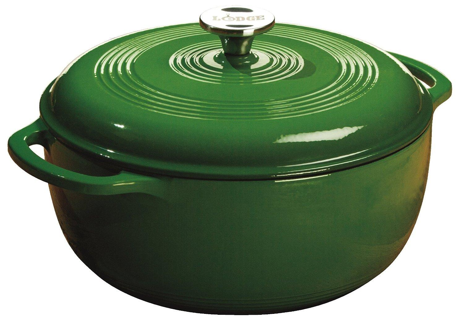 Lodge Color EC6D53 Enameled Cast Iron Dutch Oven, Emerald Green, 6-Quart