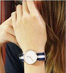 Daniel Wellington Classic Glasgow White Dial Navy and White Stripe Nylon NATO Ladies Watch 0963DW