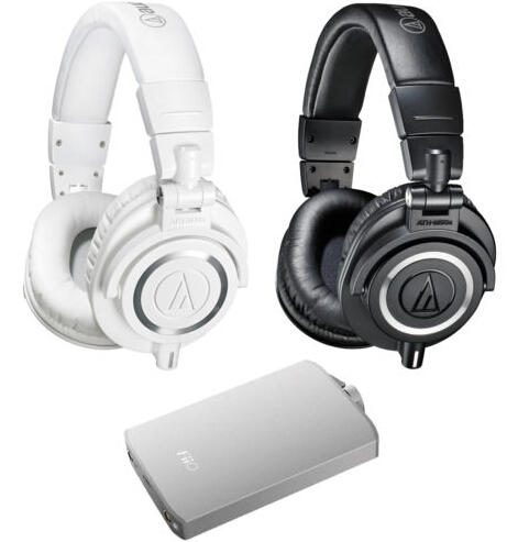 $129.99 Audio-Technica ATH-M50X Professional Studio Headphones & Fiio A3 Amp Bundle