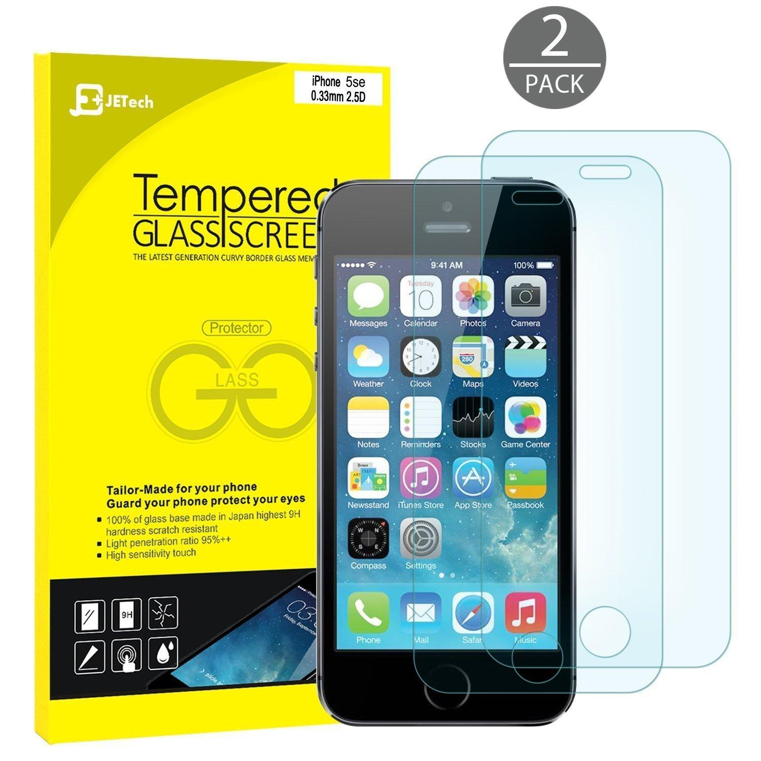 FREE JETech® Exclusively for iPhone SE 2-Pack Tempered Glass Screen Protector Film