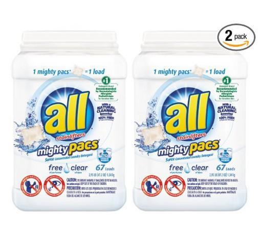 $17.94 all Mighty Pacs Free Clear, Super Concentrated Laundry Detergent, 67 Count Tub, FFP (Pack of 2) @ Amazon