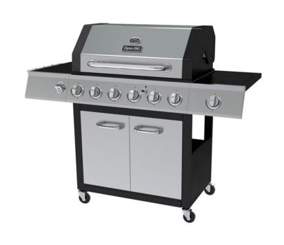 $199 Dyna-Glo 6-Burner LP Gas Grill in Black and Stainless Steel with Side Burner