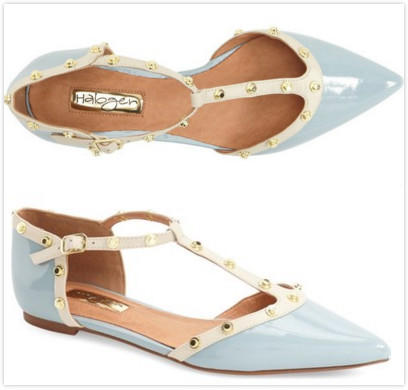 $69.9 Halogen® 'Olson' Pointy Toe Studded T-Strap Flat On Sale @ Nordstrom