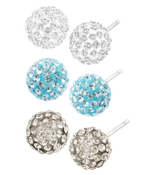 Set of 3 Ball Stud Earrings with Swarovski Crystals