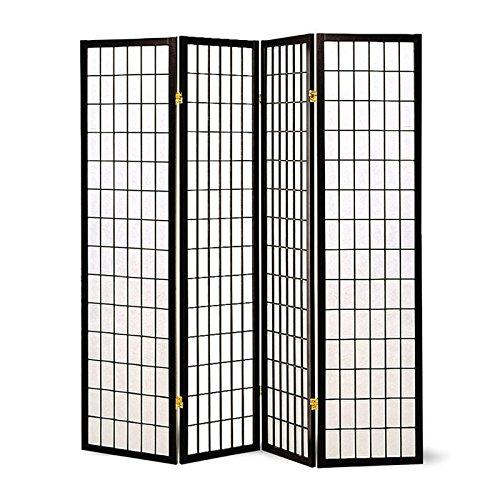Coaster Oriental Style 4-Panel Room Screen Divider, Black Framed