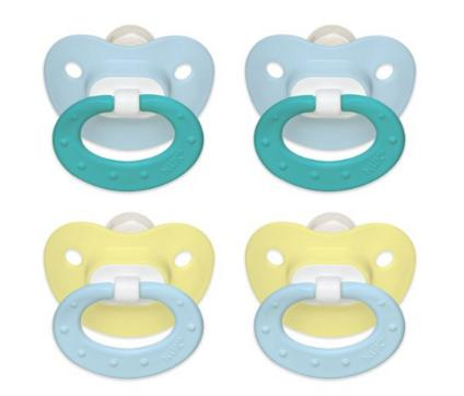 $4.99 NUK Juicy Puller Silicone Pacifier in Blue and Yellow, 0-6 Months, 4 Count