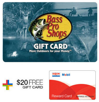 $100 Bass Pro Gift Card + FREE $20 Gas Gift Card