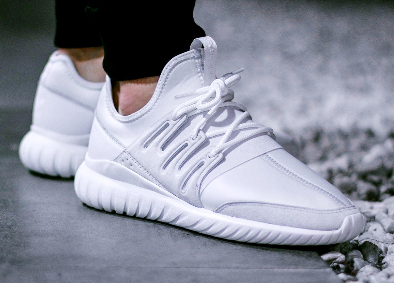 $110adidas Tubular Radial White Shoes @ PacSun