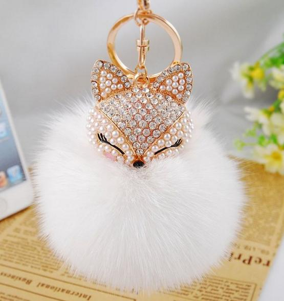 Fox Fur Ball with Artificial Fox Head Inlay Pearl Rhinestone Key Chain for Womens Bag or Cellphone or Car Pendant