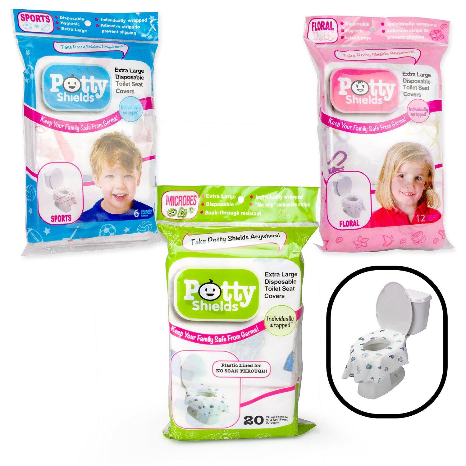 Toilet Seat Covers- Disposable XL Potty Seat Covers, Individually Wrapped by Potty Shields