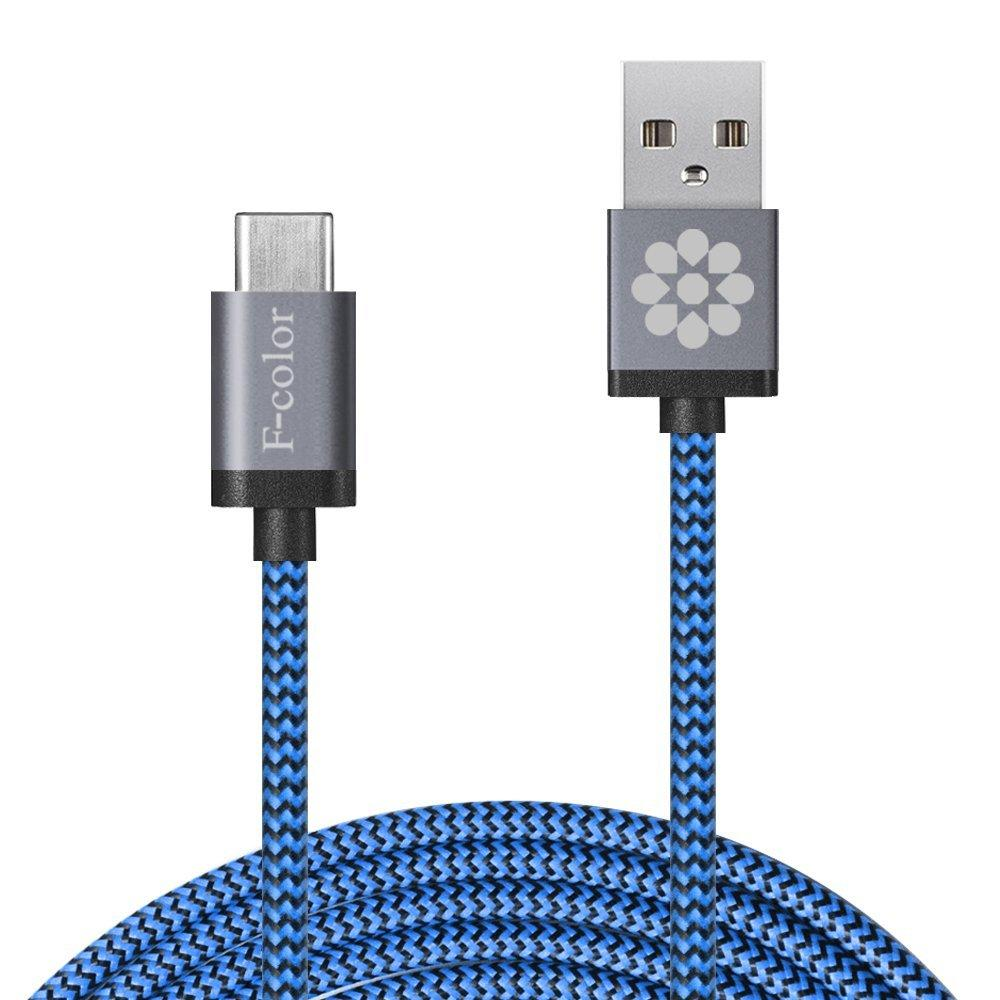 6.6ft Long F-color Braided Reversible USB C to 2.0 USB A Male Charger