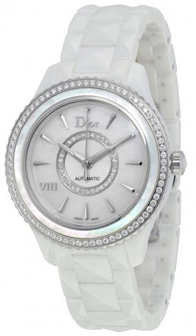 Dior VIII White Mother of Pearl Dial Ceramic Ladies Watch CD1245E9C001