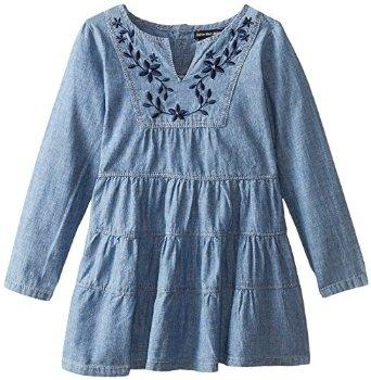 Calvin Klein Little Girls' Denim Dress with Flowers In Chest