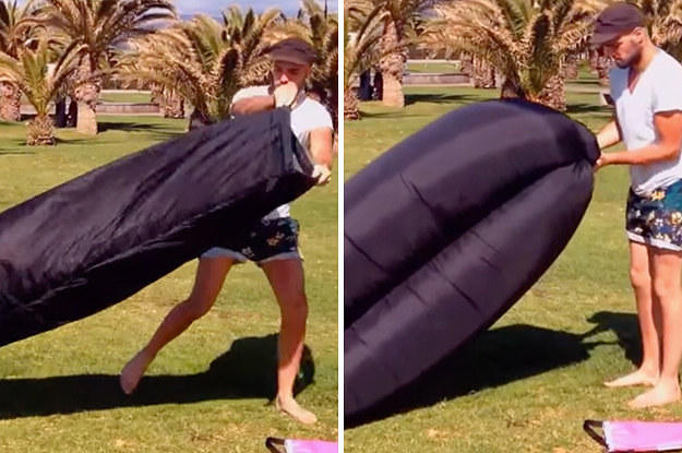 $84.99 ZORROO Outdoor Convenient Inflatable Lounger Hangout Nylon Fabric Sleeping Compression Air Bag
