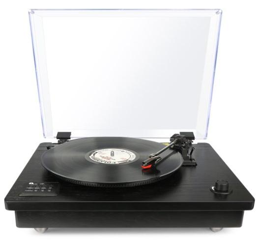 ONLY $79.99 1byone Belt Driven Bluetooth Turntable with Built-in Stereo Speaker, Vintage Style Record Player, Vinyl-To-MP3 Recording