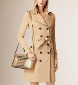 BURBERRY Horseferry Check and Leather Clutch - Honey/Gold