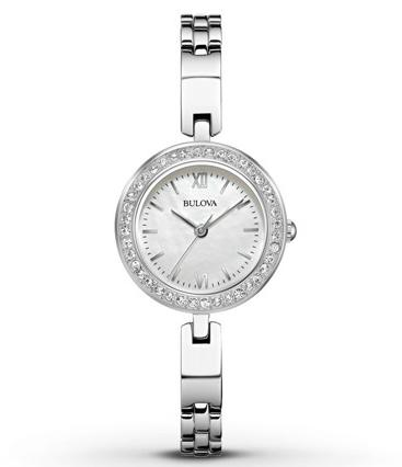 Bulova Crystal White Mother of Pearl Dial Ladies Stainless Steel Watch 98X107
