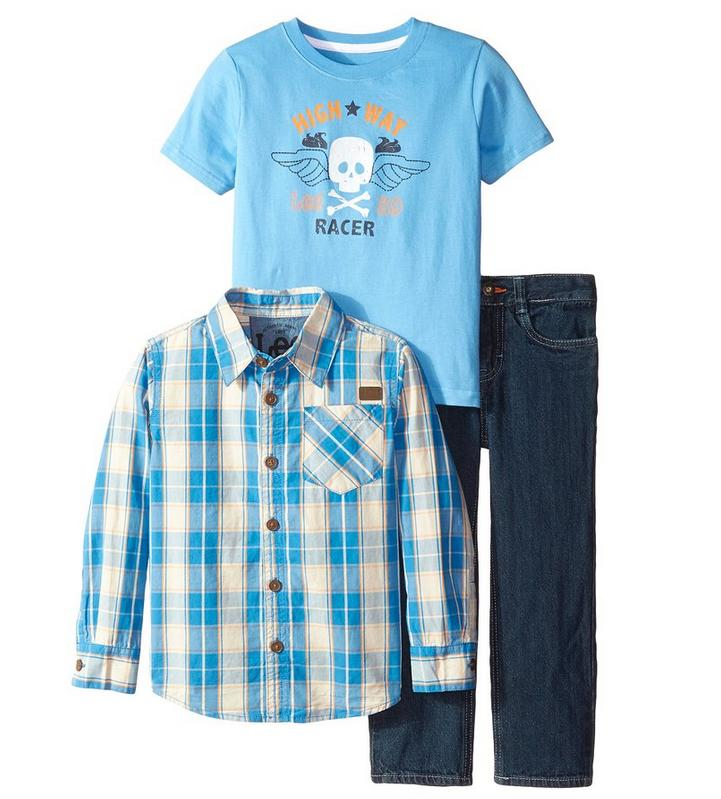 From $13.96 Lee Little Boys' Woven Shirt Tee Denim Set(2T-4T)