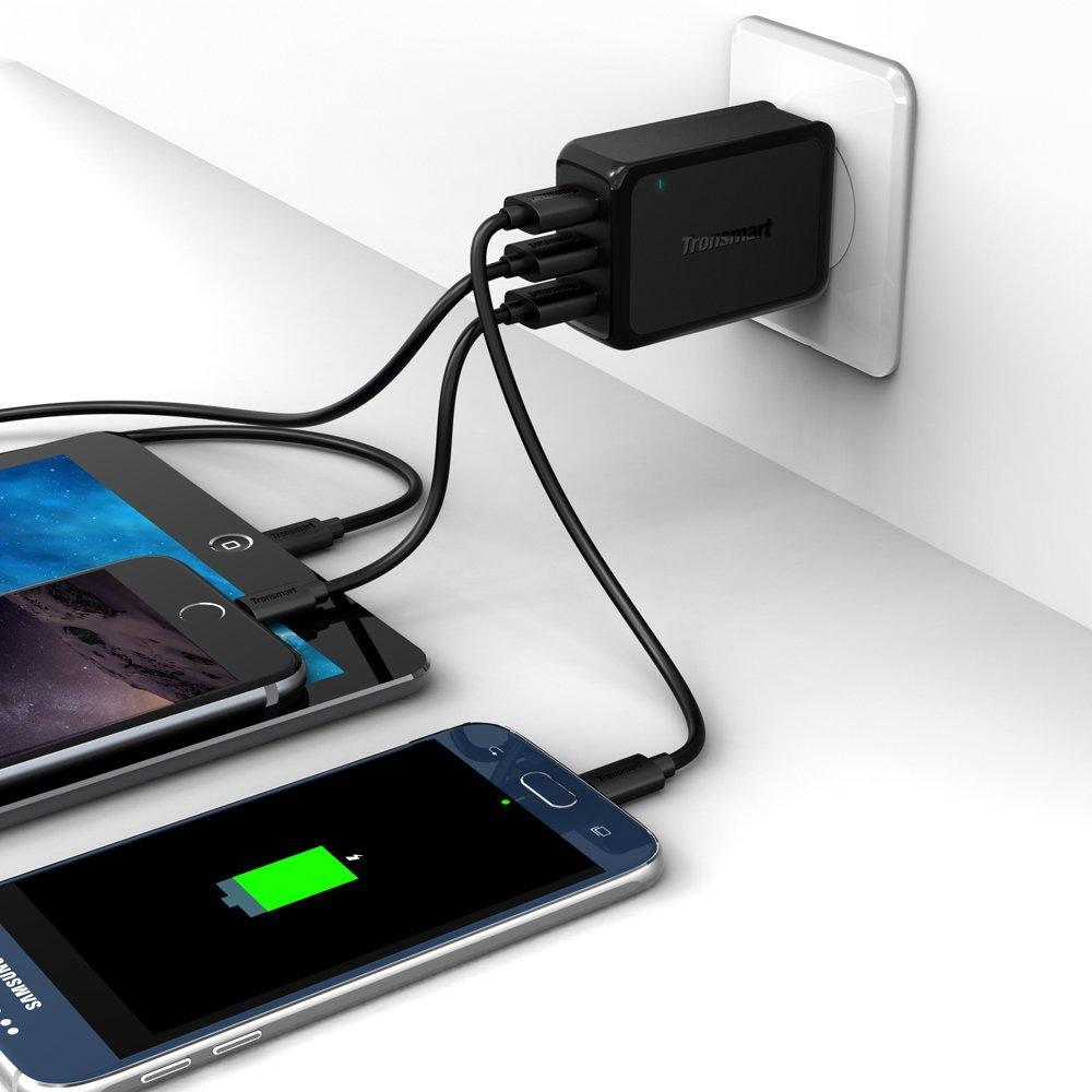 Tronsmart Quick Charge 2.0 42W 3-Port USB Wall Charger Travel Charger (Includes a 6 Feet Micro USB Cable)