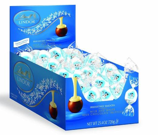 Lindt LINDOR Snowman Milk and White Chocolate Truffles, 60 Count Box