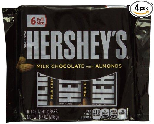 Hershey's Milk Chocolate Bars with Almonds,, 6-1.45 oz. Bars, (Pack of 4)