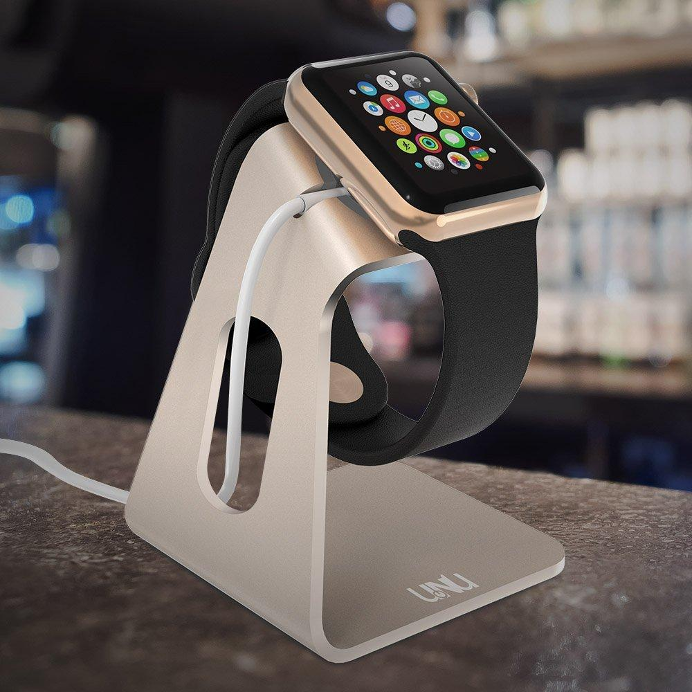 Apple Watch Stand , UNU AX Apple Watch Charger Cable Holder Dock, Aluminum Charging