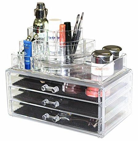 Clear Acrylic Cosmetics Makeup Organizer 3 Drawers with 8 Compartments Top Section