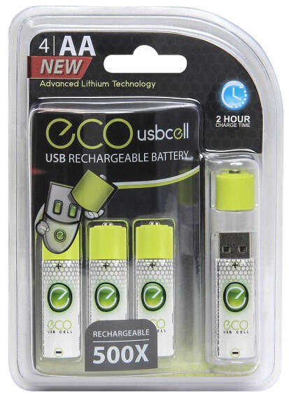 Eco Cell USB Cell Rechargeable Batteries (4-Pack)