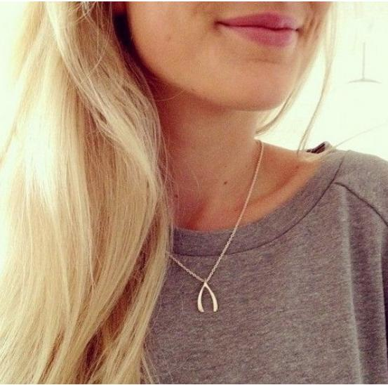 Sterling Silver Wishbone Pendant Necklace