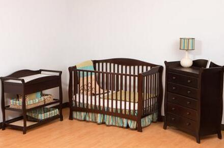 Storkcraft Savona 2-in-1 Fixed-Side Convertible Crib, Espresso