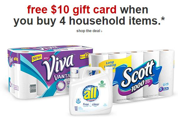 Free $10 Gift Card when You Buy 4 Household Items @ Target.com
