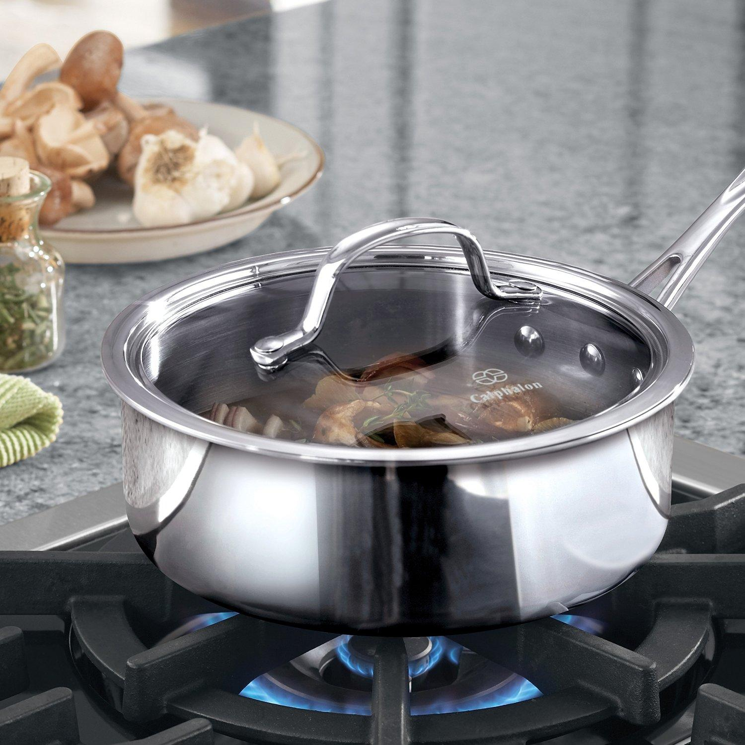 Calphalon Tri-Ply Stainless Steel 2-1/2-Quart Shallow Sauce with Cover