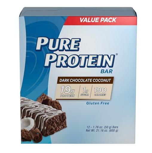 6.99 Pure Protein Dark Chocolate Coconut Protein Bar - 12 Count