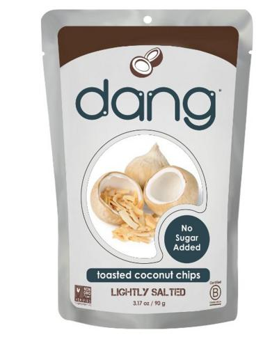 $4.27 Dang Gluten Free Toasted Coconut Chips, Lighltly Salted, Unsweetened, 3.17 Ounce Bags