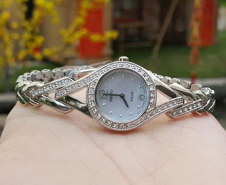 Seiko Solar Mother of Pearl Dial Stainless Steel Ladies Watch SUP173